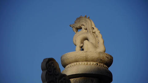 east ancient royal lion marble pillar in Beijing China Footage