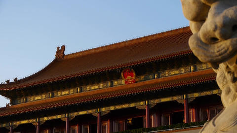 ancient bronze lion in front of forbidden City at dusk,China Political center Footage