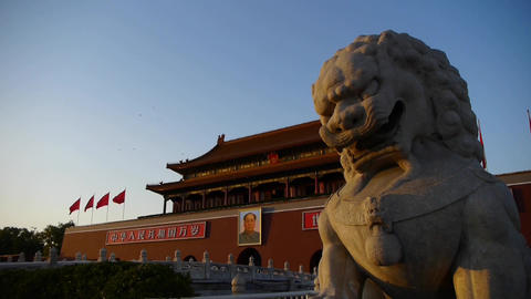 ancient bronze lion in front of forbidden City at dusk,China Political center Live Action