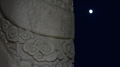 east ancient royal marble pillar & moon at night Stock Video Footage