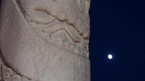 East Ancient Royal Marble Pillar & Moon At Night stock footage