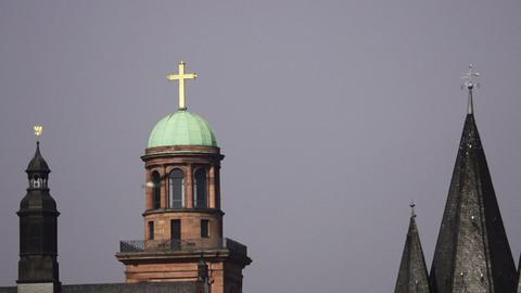 Bird flies by church steeple Stock Video Footage