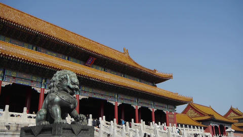 bronze lion in front of Forbidden City,China's royal ancient architecture Footage