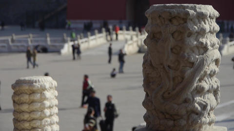 dragon & cloud carving totem in forbidden city,China's royal architecture Footage