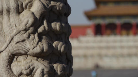 dragon & cloud carving totem in forbidden... Stock Video Footage