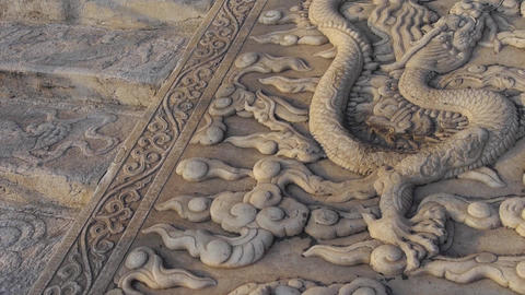 china royal stone dragon totem in sunset,forbidden city step Footage