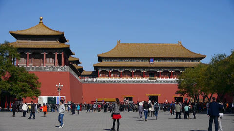 timelapse beijing forbidden city & tourist,China's royal Meridian Gate Footage