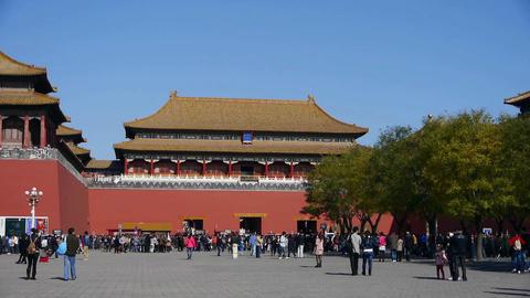 beijing timelapse forbidden city & tourist,China's royal Meridian Gate Footage