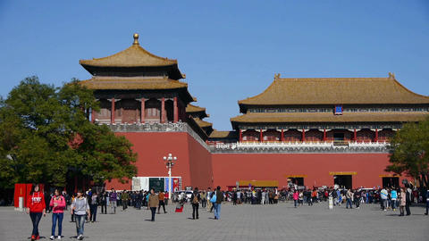 beijing timelapse forbidden city & tourist,China's... Stock Video Footage