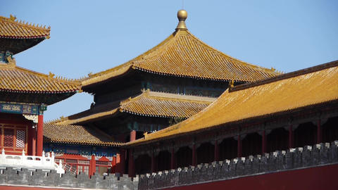 beijing forbidden city,red wall & golden roof,China's... Stock Video Footage