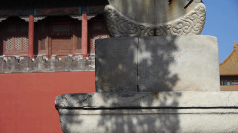 china ancient stone time measure instrument &... Stock Video Footage