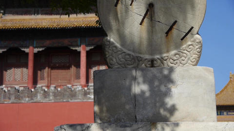china ancient stone time measure instrument & sunlight,chinese character Footage