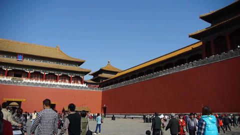 tourist enter beijing forbidden city,China's royal... Stock Video Footage