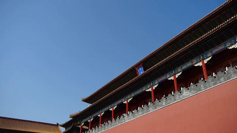 red beijing forbidden city wall,China's royal Meridian Gate Stock Video Footage