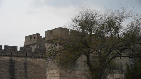 Great Wall battlements wall,China ancient architecture,fortress Footage