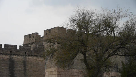 Great Wall battlements wall,China ancient... Stock Video Footage