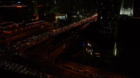nighttime traffic pollution on overpass in Beijing Footage
