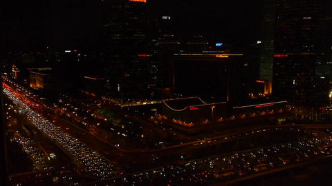 time-lapse,traffic pollution on overpass in the night city Stock Video Footage