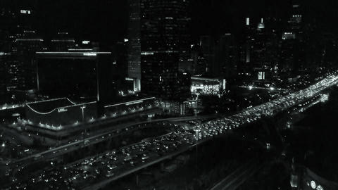 night traffic pollution on busy overpass in city Stock Video Footage