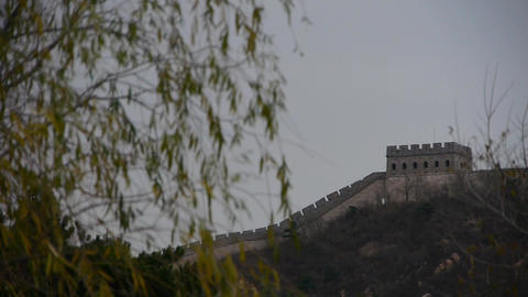 Great Wall on mountain peak,China ancient... Stock Video Footage