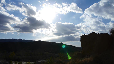 Panoramic of village mountains,Altocumulus cloud in blue sky Footage
