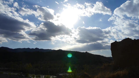 Panoramic of village mountains,Altocumulus cloud in blue sky Stock Video Footage