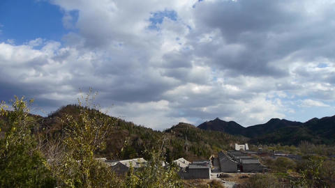 Panoramic of sunny village mountains,Altocumulus cloud in... Stock Video Footage