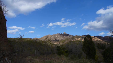 Panoramic of sunny mountains & Ancient city wall,Altocumulus cloud in blue s Footage