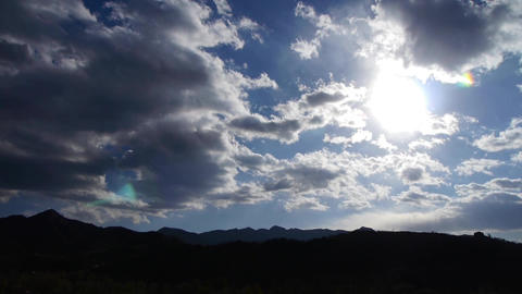Panoramic of sunny mountains in fall autumn,Altocumulus... Stock Video Footage