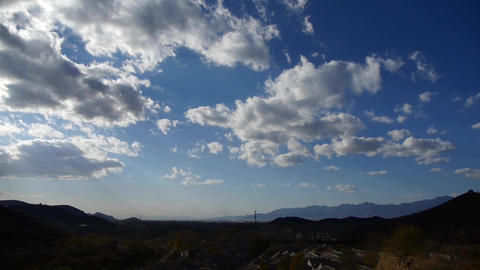 Panoramic of sunny village mountains in autumn,Altocumulus cloud in blue sky Footage