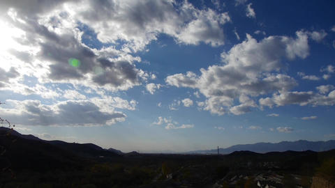 Panoramic of sunny village mountains in... Stock Video Footage