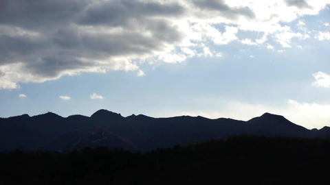 Panoramic of the Great Wall mountains in autumn,Altocumulus cloud in blue sky Footage