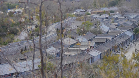 Chinese ancient buildings village & swing grass in... Stock Video Footage