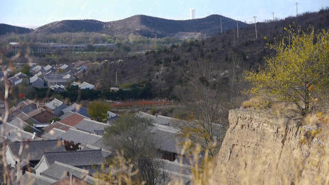 Panoramic of Chinese ancient buildings village &... Stock Video Footage