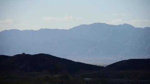 Panoramic of hill mountains silhouette in autumn Stock Video Footage