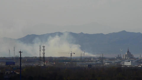 Panoramic of city town & factory smoke rely on... Stock Video Footage