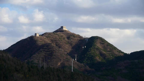 Panoramic of the Great Wall fortress hill mountains,China... Stock Video Footage