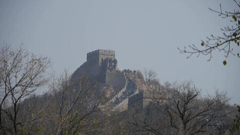 Great Wall on mountain peak,China ancient architecture,fortress Footage