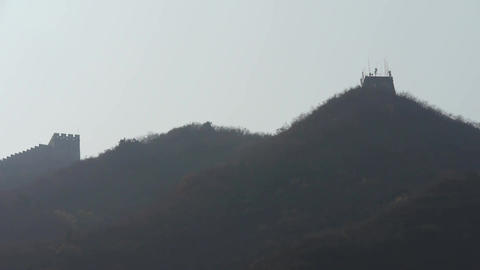 Great Wall on mountain peak hill ridge & shadow... Stock Video Footage