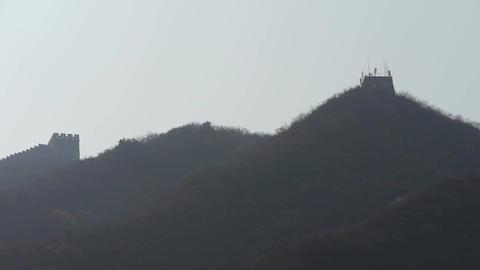Great Wall on mountain peak hill ridge & shadow... Stock Video Footage