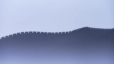 Great Wall on mountain peak hill ridge & Battlements... Stock Video Footage