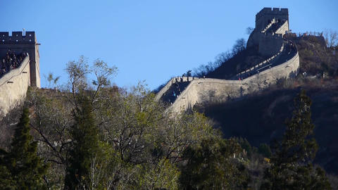visitor climbing Great Wall on mountain peak,China... Stock Video Footage