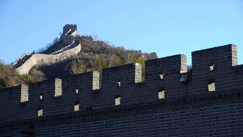 Great Wall on mountain peak,China ancient architecture,fortress battlements wall Footage