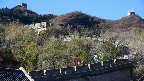 Great Wall on mountain peak,China ancient architecture,fortress in fall autumn Footage