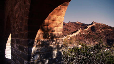 view Great wall from battlements lookouts in dusk,ancient defense engineering Footage