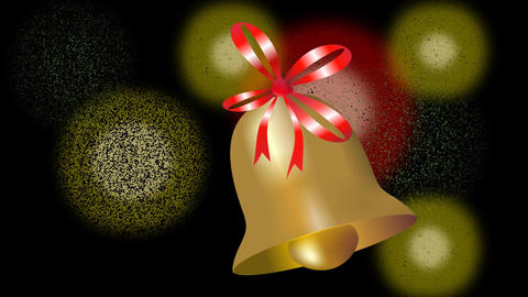 Beautiful gold bell christmas animation. Little bell with red ribbon swinging on Animation