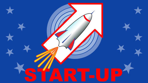 Start up project intro. Video clip with starting rocket. Dynamic animation in US Animation