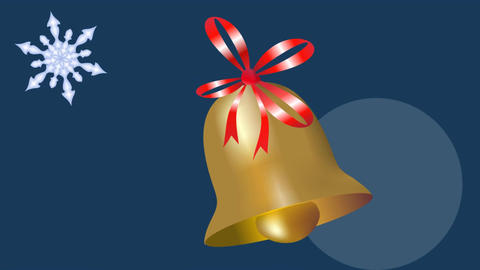 Beautiful gold bell christmas animation. Little golden bell with red ribbon swin Animation