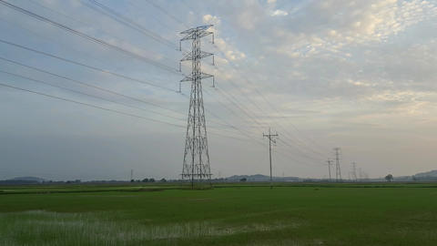 Sunrise high voltage post,High voltage tower Live Action