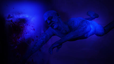 4k male zombie crawling on ground in blue night illuminated with flashlight Animation